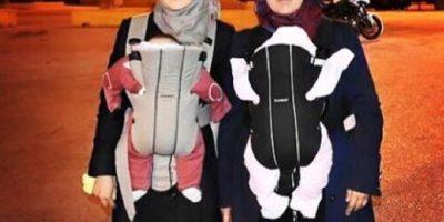 Madre crea iniciativa enternecedora para que refugiados carguen a sus bebés