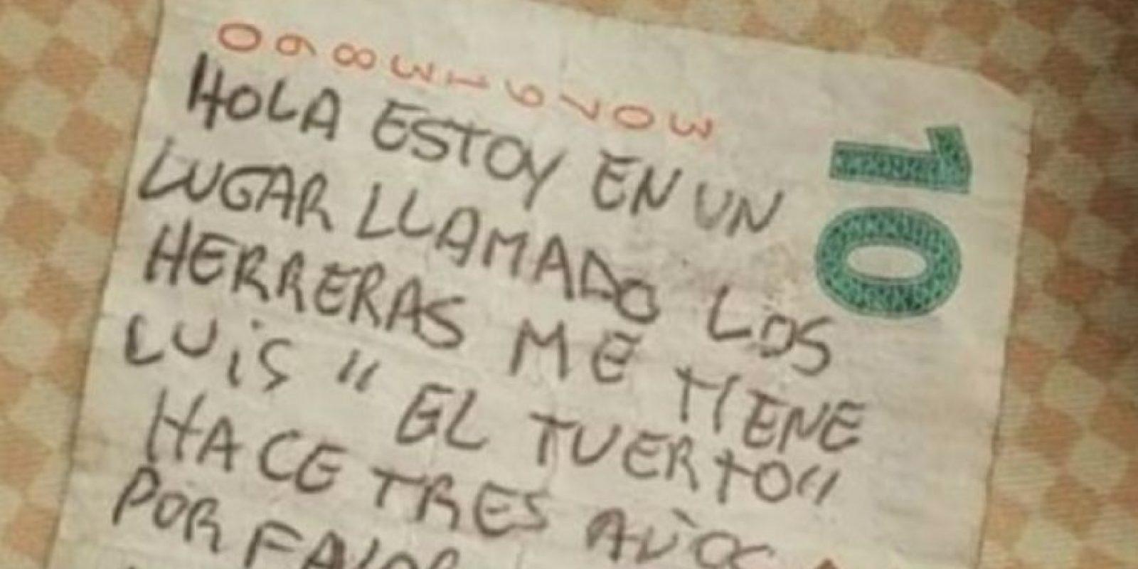 Este es el mensaje que escribieron en el billete. Foto:Vía Twitter
