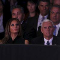Estuvo Melania Trump, esposa de Donald Trump y Mike Pence; el compañero de fórmula de Trump. Foto:AFP