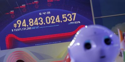 Como en una especie de Teletón, había una pantalla mostrando las ganancias en tiempo real Foto:AFP