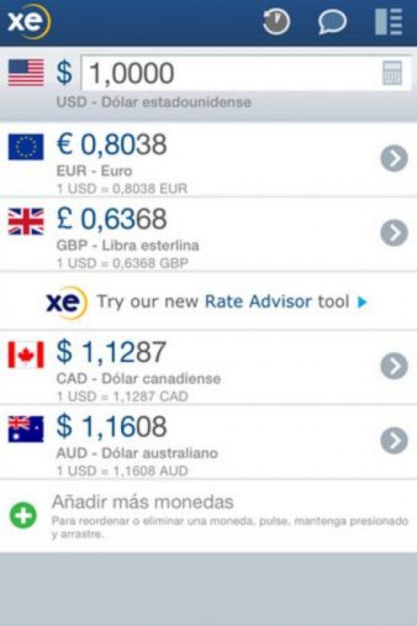 Les ayuda a convertir su dinero de manera rápida y sencilla, cuenta con tablas de divisas y almacena los últimos tipos de cambio. Foto:XE.com Inc.