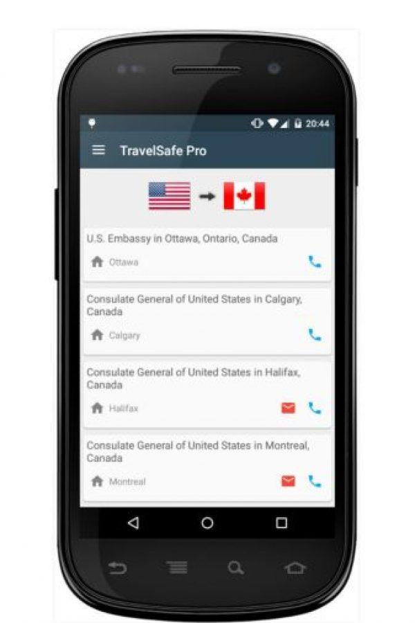 Les brinda una base de datos con los números de emergencia y la ubicación de las embajadas. La aplicación está disponible en todo el mundo. Foto:BoaLogik