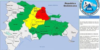 COE aumenta a 24 provincias bajo alerta amarilla y verde por lluvias