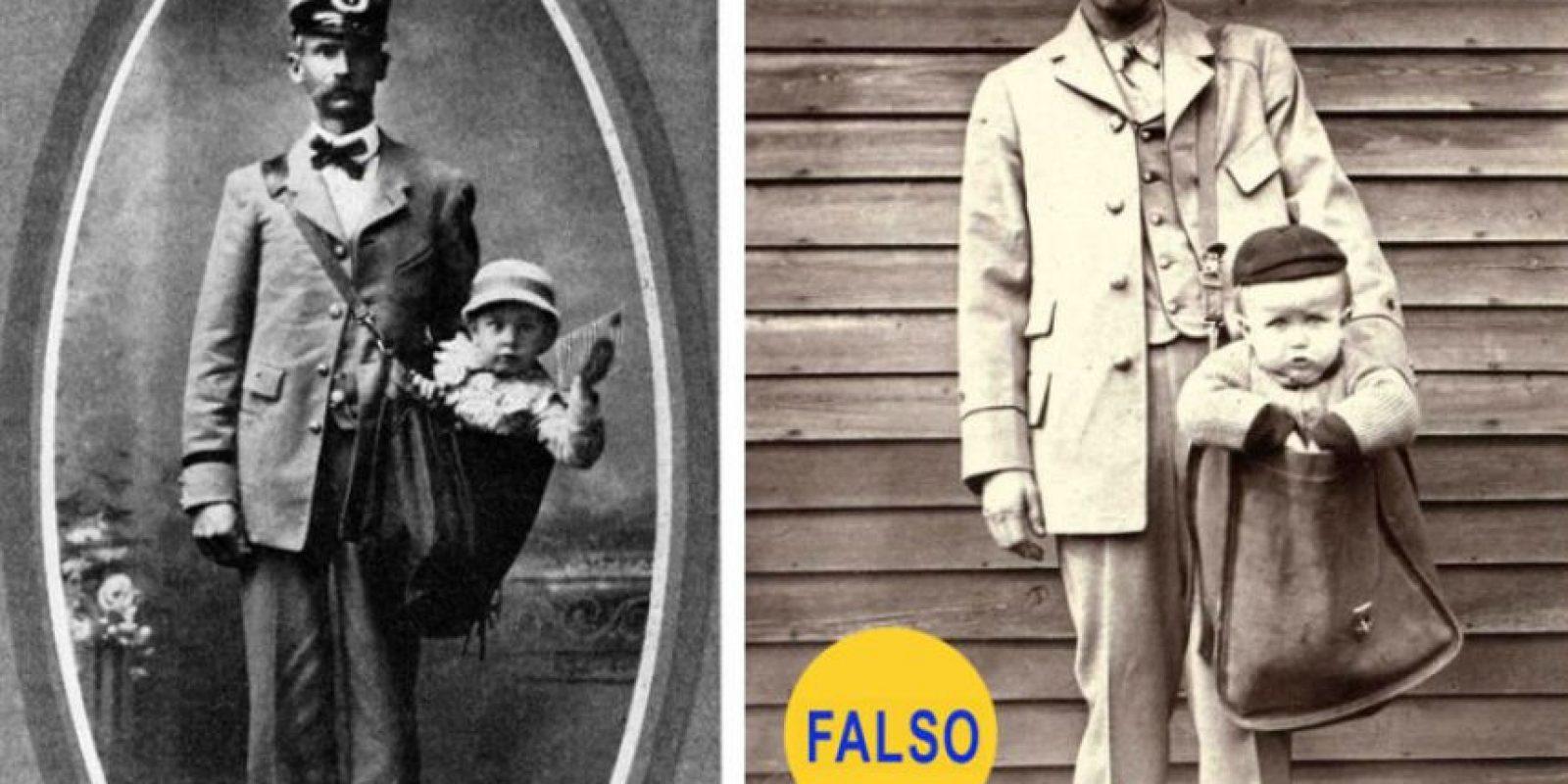 Niños enviados por correspondencia. La foto es real, pero la historia que cuenta no. Según Catherine Shteynberg, del museo Smithsonian, se trata de puestas en escena humorísticas. . Foto:Retronaut