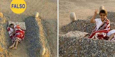 El niño sirio que duerme entre las tumbas de sus padres. La foto de la izquierda ha circulado como desgarradora prueba de las atrocidades del conflicto en Siria. Resulta que las tumbas no pertenecen a los padres del niño, sino que es el proyecto artístico de un fotógrafo llamado Abdul Aziz al-Otaibi. Foto:Imgur