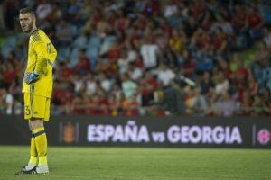 De Gea se perfila como titular para la Eurocopa y sufrió el humillante gol ante Georgia Foto:AFP