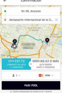 Ingresen su destino. La primera opción, la de la izquierda, es UberPool. La de la derecha será UberX. Elijan la que deseen. Foto:Uber