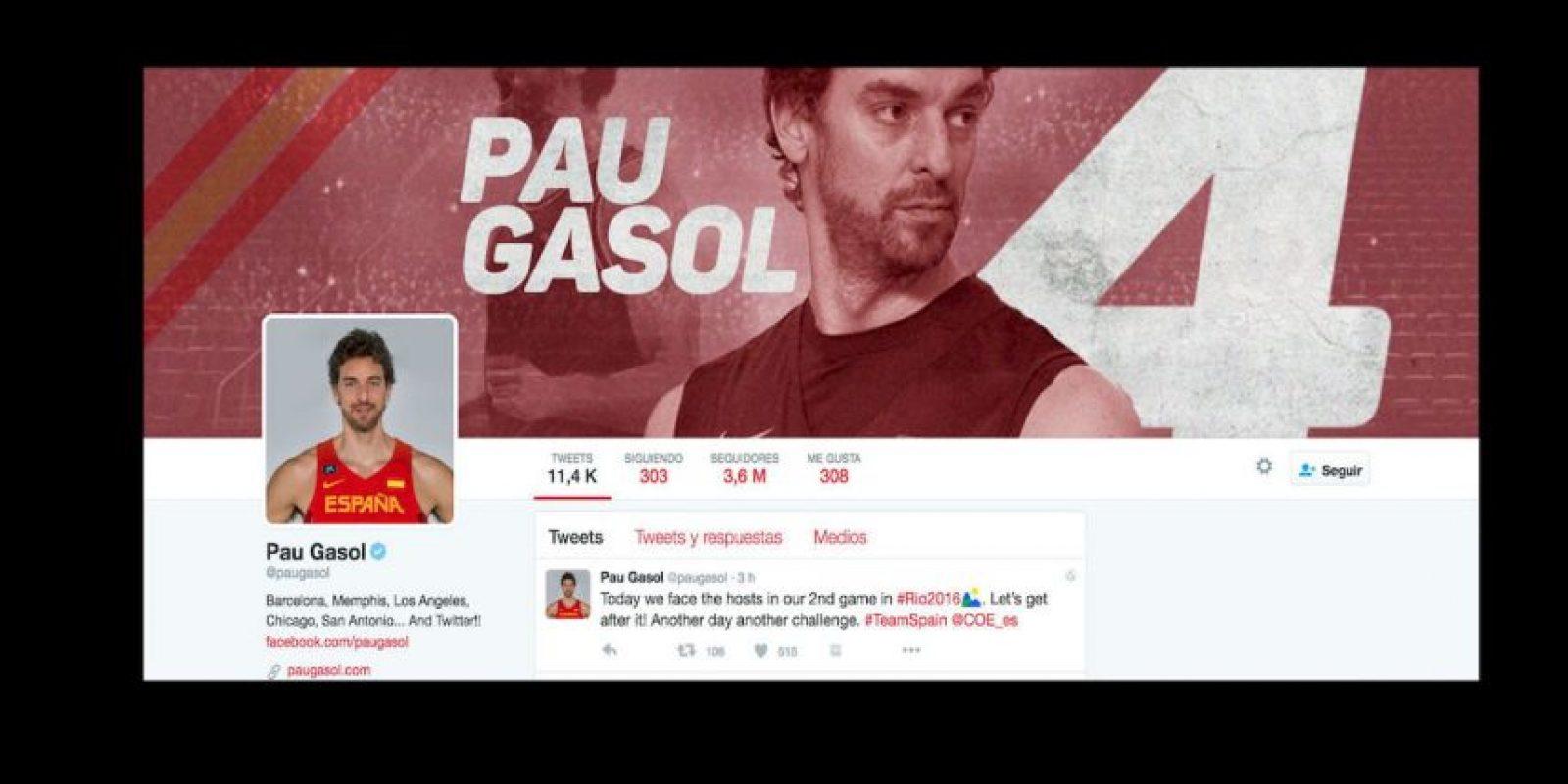 10. Pau Gasol (@paugasol) – 3.6 millones de seguidores Foto:Twitter