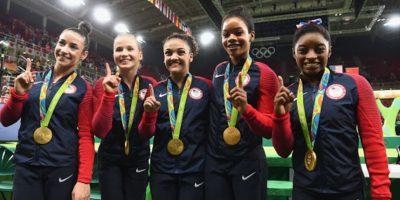 El equipo femenino de gimnasia de Estados Unidos ayer ganó el oro. Foto:Getty Images