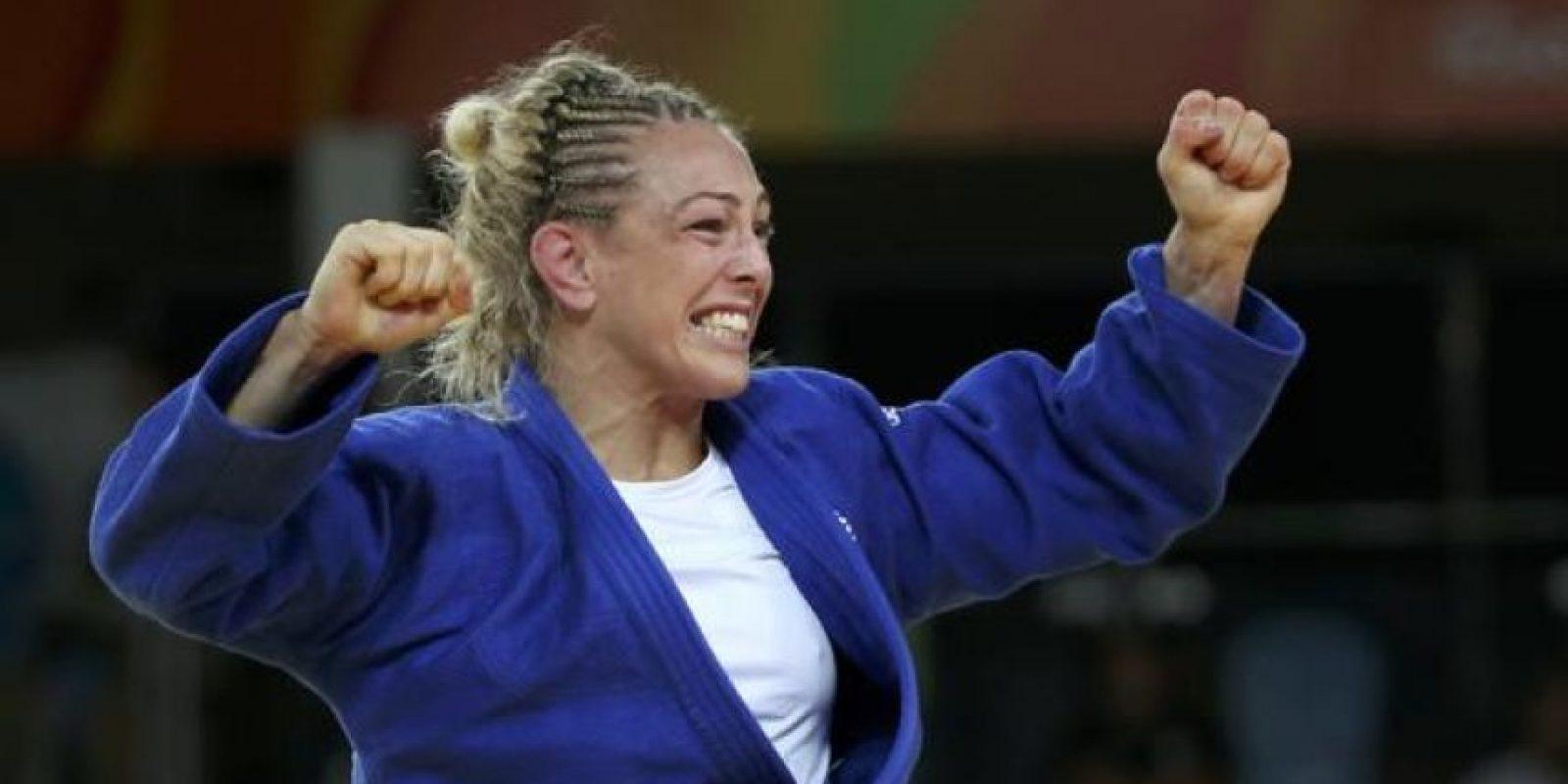 Sally Conway de Gran Bretaña salió a todos los combates de Judo donde compitió con este curioso peinado.