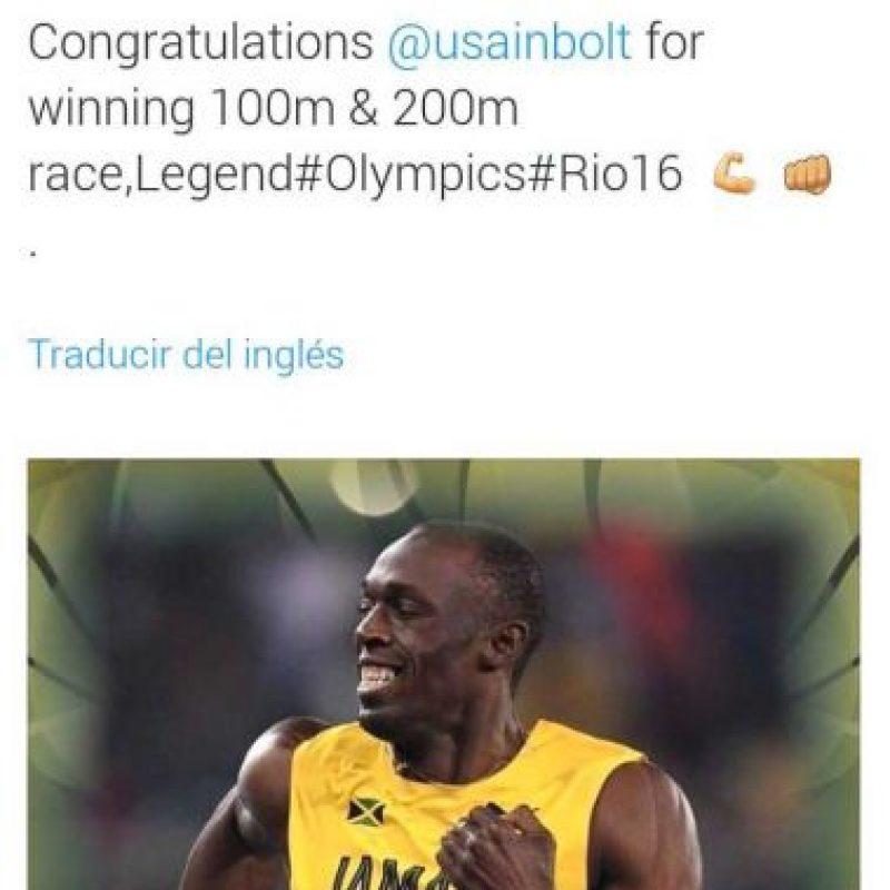 """Michael Essien también se rindió ante Bolt: """"Felicidades por ganar las carreras de 100m y 200m. Leyenda"""" Foto:Twitter"""