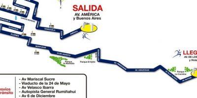 El recorrido de la Ruta de las Iglesias y las vías alternas para la movilización de autos. Foto:CORTESÍA