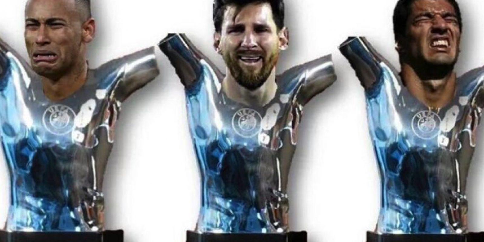 Los internautas destacaron la ausencia de las estrellas del Barça en la gala. Foto:Vía twitter.com