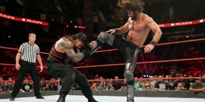 El título lo disputaban Roman Reigns, Seth Rollins, Big Cass y Kevin Owens Foto:WWE