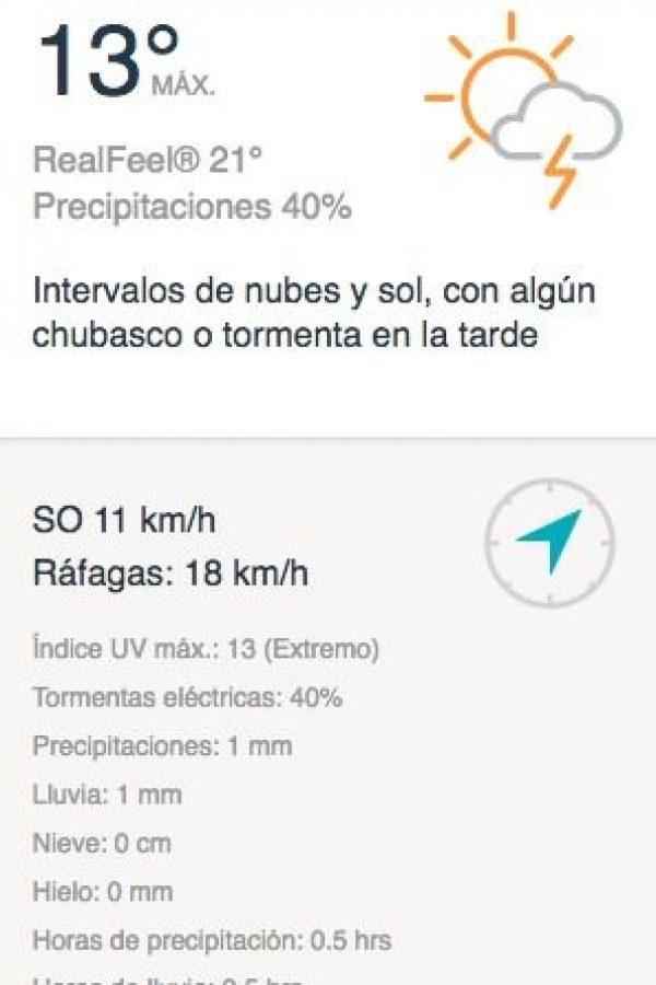 Clima para La Paz según AccuWeather. Imagen Por: Internet