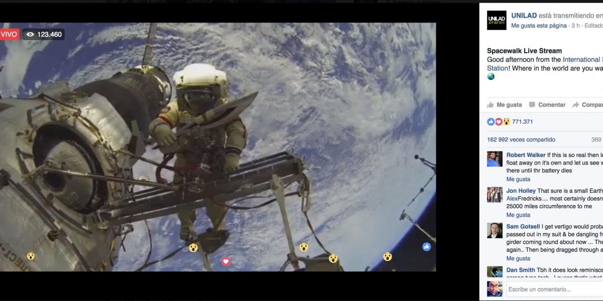 Si vieron esta transmisión en Facebook Live en el espacio, fueron engañados