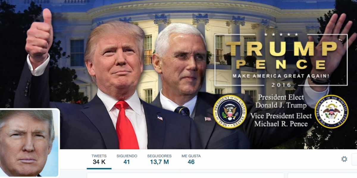 Donald Trump actualiza su cuenta de Twitter como presidente electo