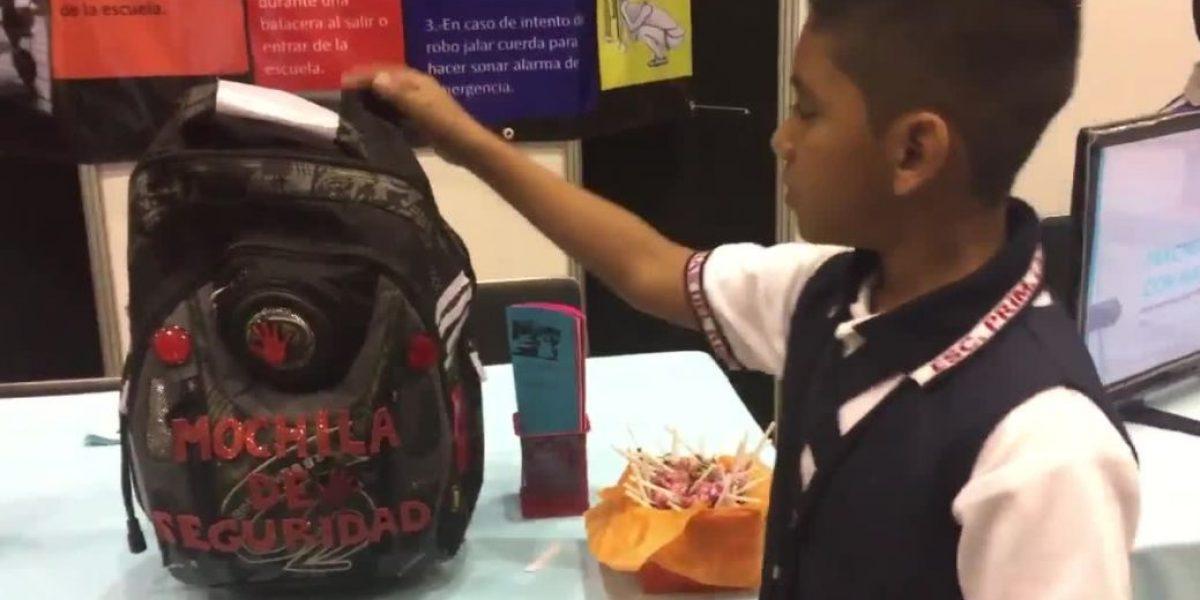 Niño crea mochila antibalas