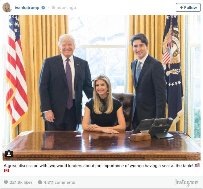 Ivanka Trump publica foto en la silla presidencial de Estados Unidos