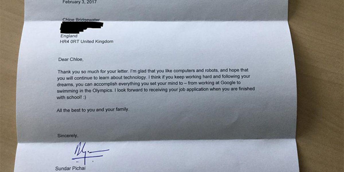 CEO de Google respondió a niña de 7 años que le pidió trabajo