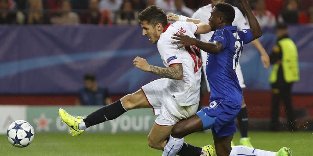 Sevilla se impone por la mínima al Leicester en la Champions