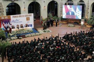 El Presidente hizo público su informe en el Palacio Nacional de la Cultura, donde resaltó que se redujeron 75% los hechos delictivos en zonas rojas/ Foto:Stanley Herrarte