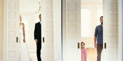 Viudo recrea boda en una serie de fotos con su pequeña hija