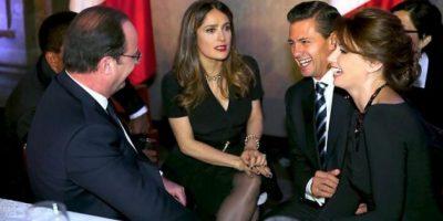 Salma Hayek cena con la Gaviota y el Presidente Peña Nieto