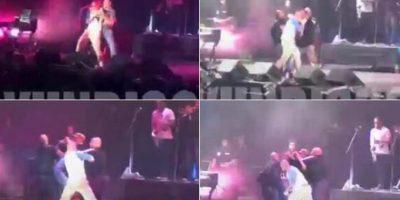El vocalista de Calle 13 golpeó en el estomago a un fan que logró subir al escenario. Foto:Twitter