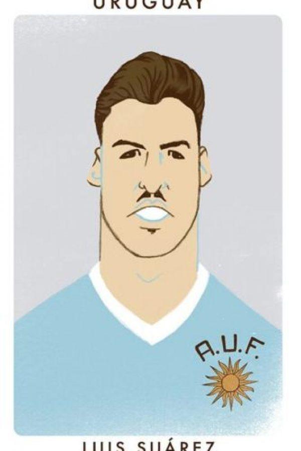 El uruguayo Luis Suárez como Alcides Ghiggia, campeón del mundo en 1950. Foto:twitter.com/chrismoranART