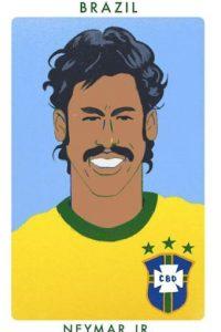 El brasileño Neymar como Roberto Rivelino, campeón del mundo en 1970. Foto:twitter.com/chrismoranART