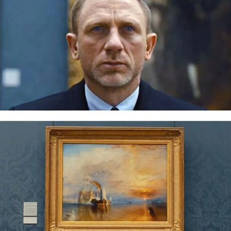 """The Fighting Temeraire tugged to her Last Berth to be broken up"" de Joseph Mallord William Turner en Skyfall, 2012. Foto: Columbia Pictures"