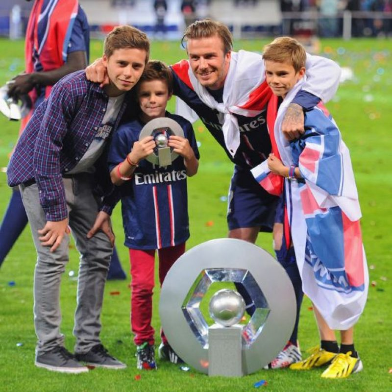 David Beckham y sus hijos. Foto: Getty Images