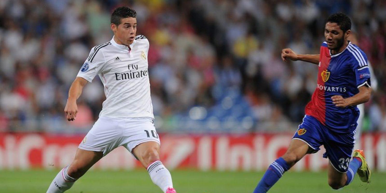 James contra el Basel en la UEFA Champions League. Foto:Getty Images