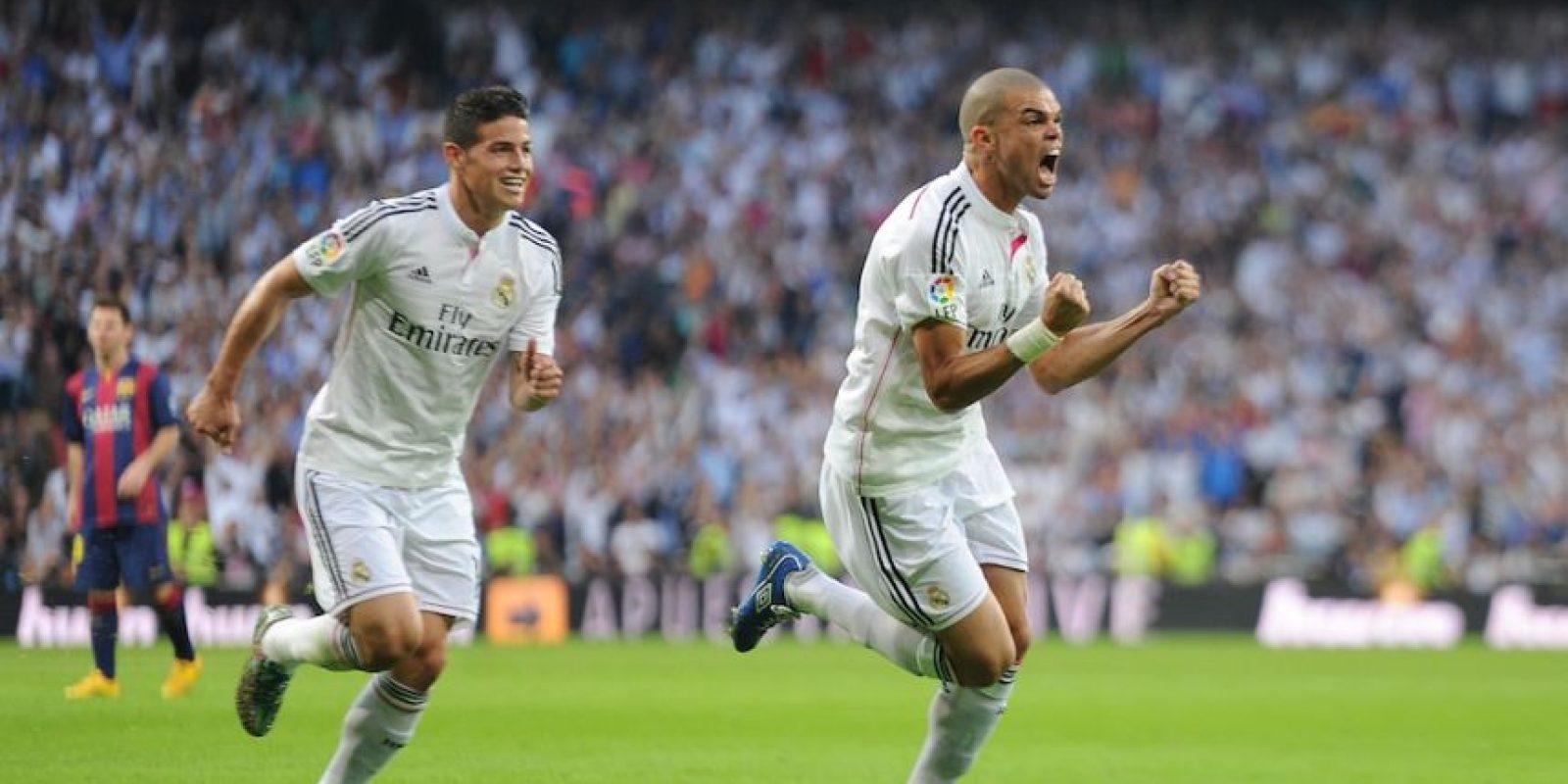James celebra el gol de Pepe ante el Barcelona. Foto:Getty Images
