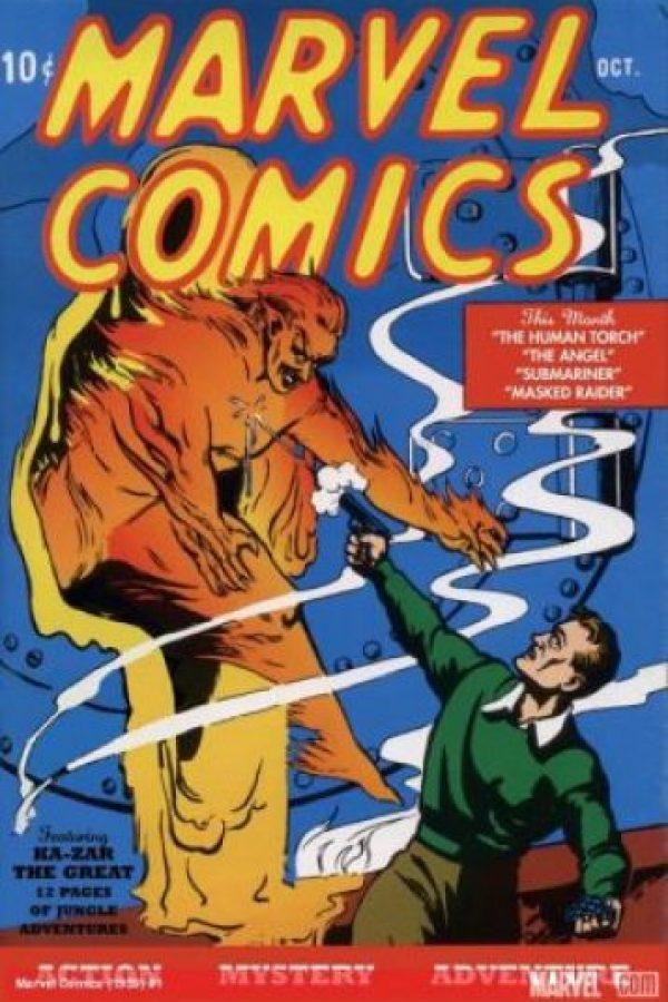 La historia de Marvel comienza en agosto de 1939, cuando sale a la venta una publicación titulada Marvel Comics que traía historias de Antorcha humana, Namor y Kazar Foto:Marvel Comics