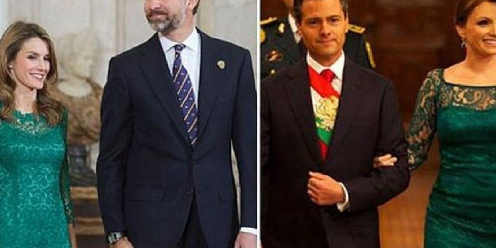 ABC critica el estilo de Angélica Rivera, la acusan de copiar a la reina Letizia. Pero ese no fue su único vestido criticado. Foto:Twitter