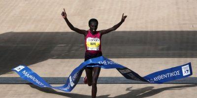 Naomi Jepkogei Maiyo ganó el Maratón de Atenas Foto:AFP