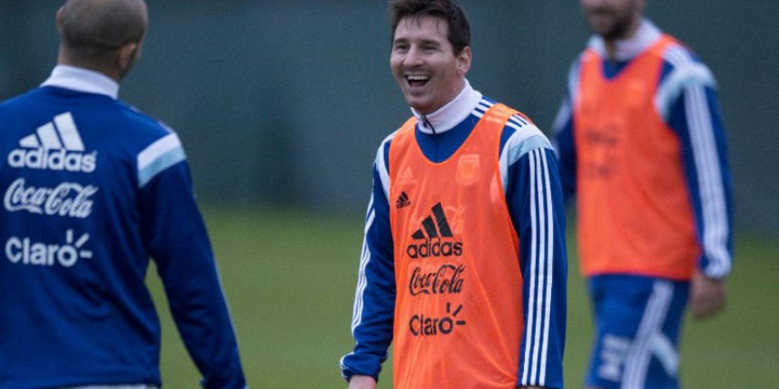 Lionel Messi, durante la práctica con su selección. Foto:AFP
