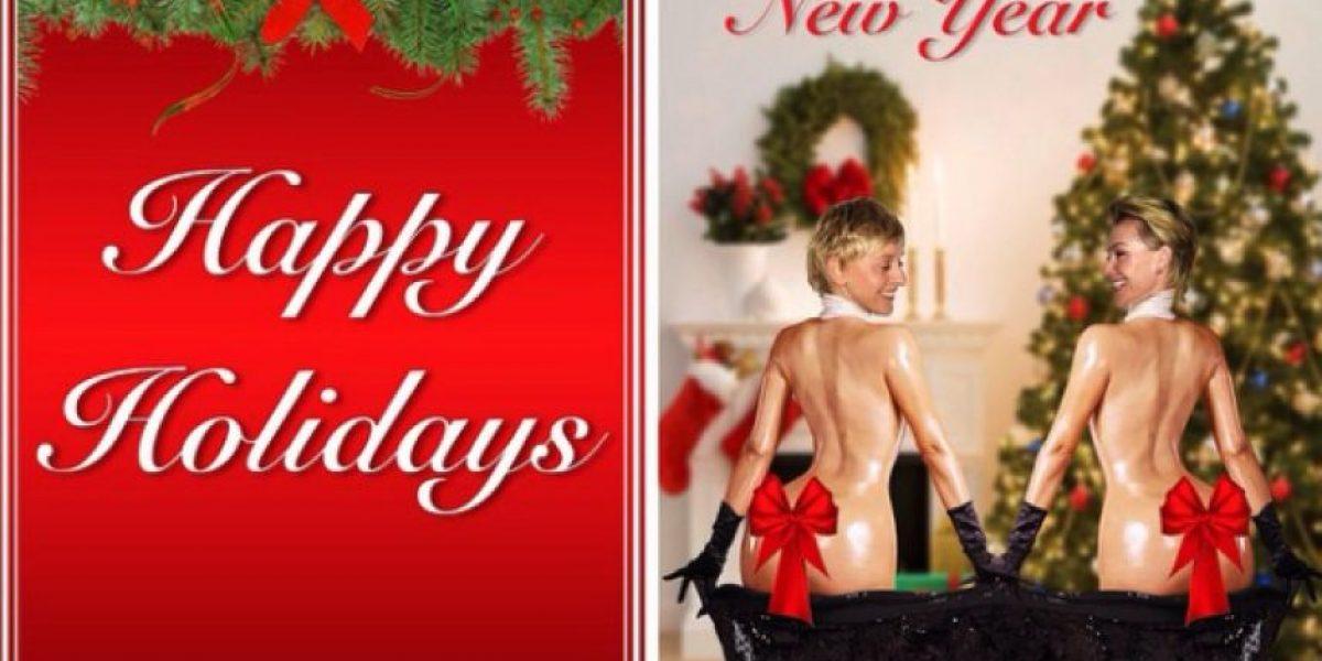 FOTO: Ellen DeGeneres imitó a Kim Kardashian en una tarjeta navideña