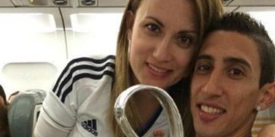 Jorgelina Cardoso y Ángel Di María. Foto:Twitter