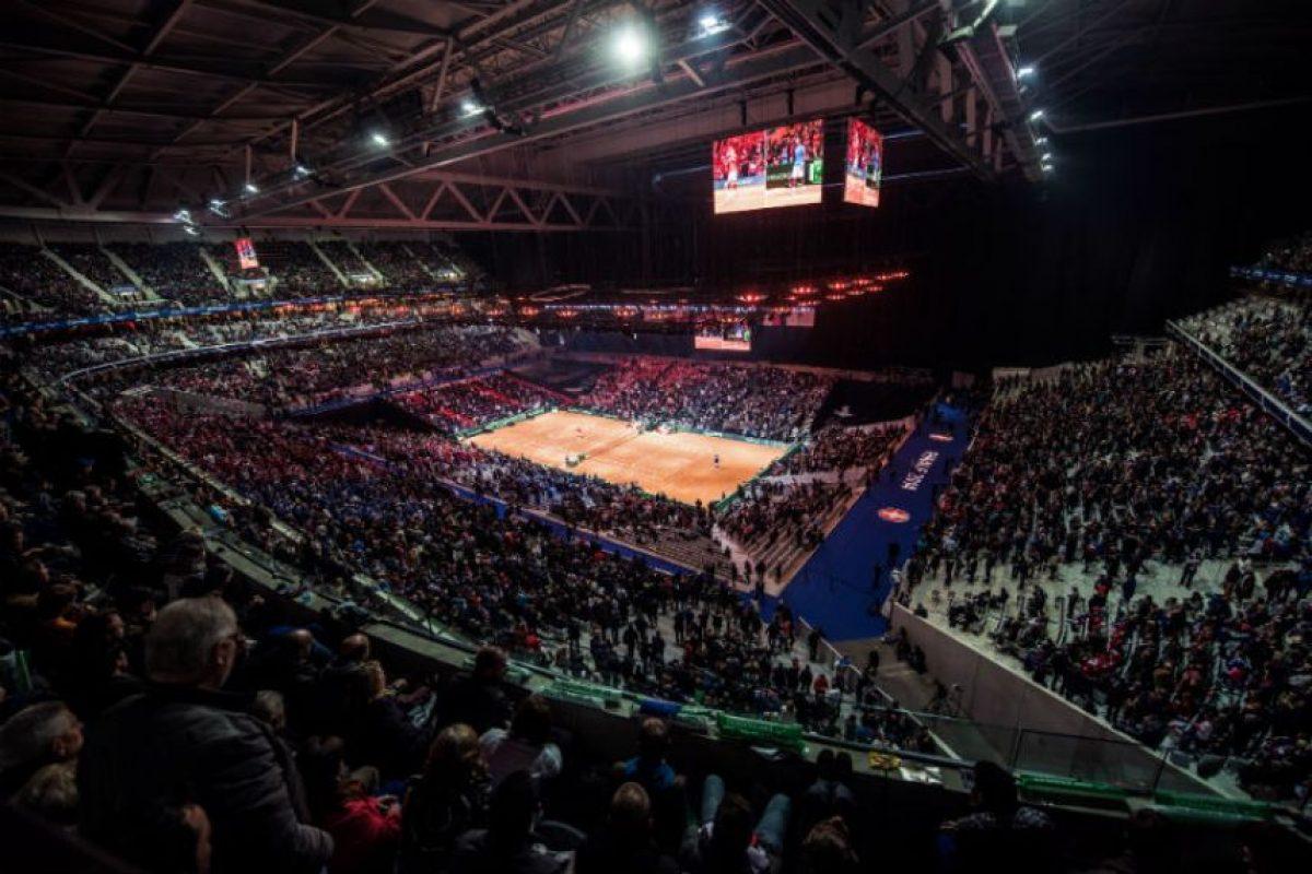 Así lucía el Stade Pierre Mauroy, durante el juego entre Federer y Monfils. Foto:AFP
