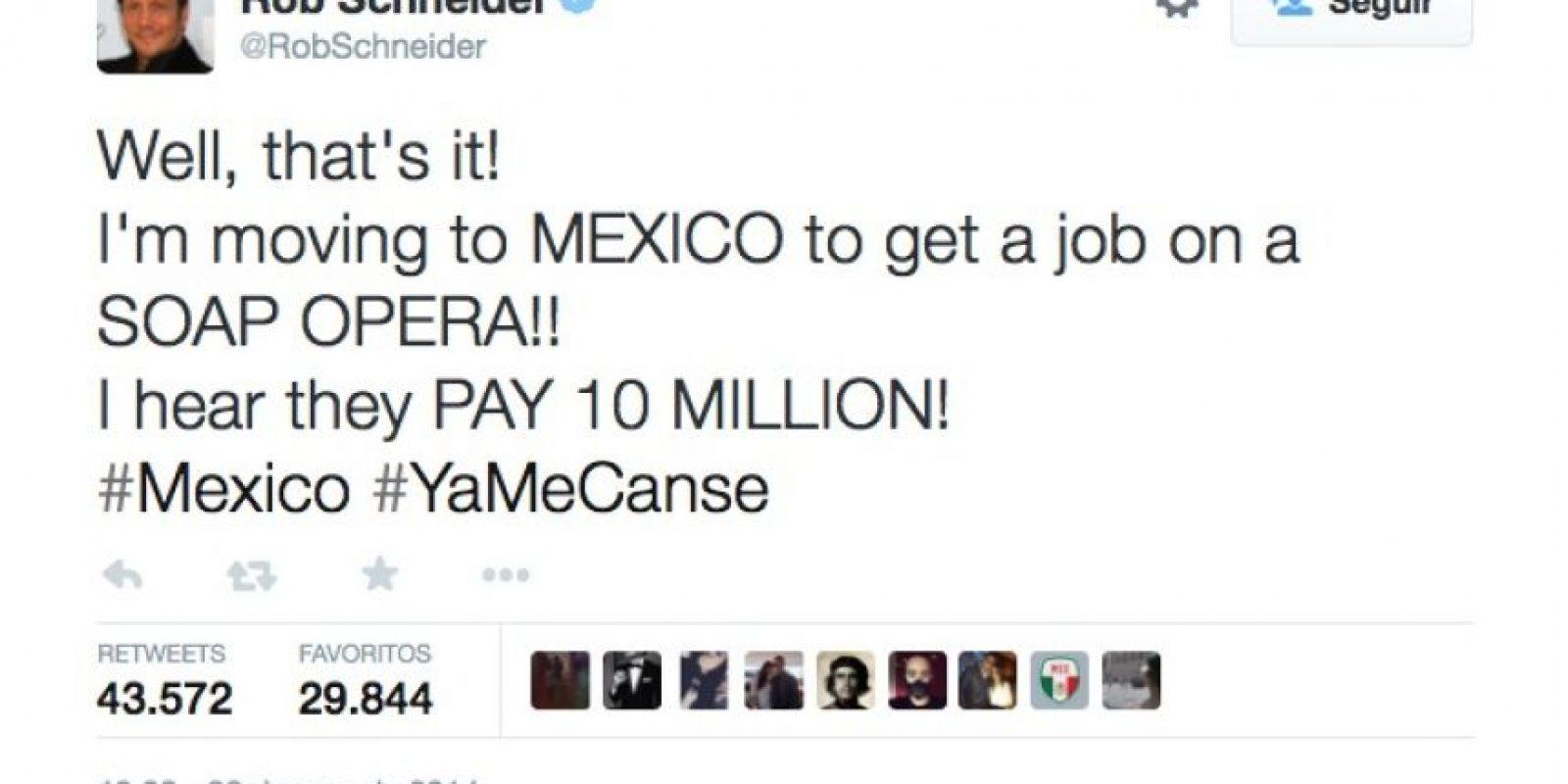 """El actor Rob Scheiner se burló de la Primera Dama mexicana y el escándalo en el que está envuelta. """"Me voy a México a hacer telenovelas, escuché que pagan 10 millones [de dólares]""""] Foto:Twitter @RobSchneider"""