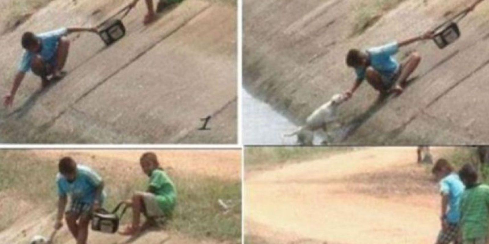 Estos dos niños rescatan a un perro Foto:Tumblr