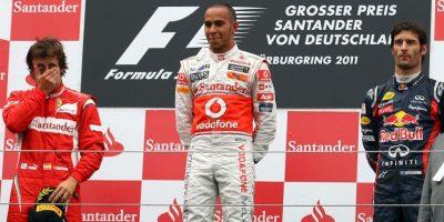 Compatiendo podio con Fernando Alonso y Mark Webber. Ese día fue el mejor de GP de Alemania 2011 Foto:Getty Images