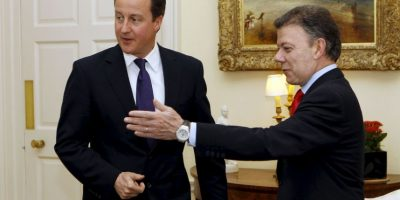 Juan Manuel Santos: 2010, como presidente electo de visita al Primer Ministro David Cameron Foto:Getty Images