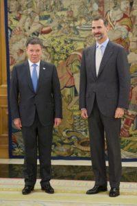 Juan Manuel Santos: En reunión con el Rey Felipe VI de España Foto:Getty Images