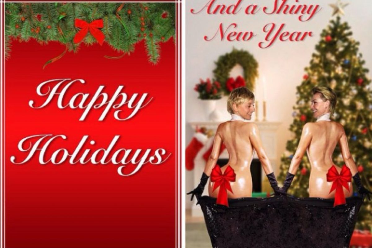 La conductora Ellen DeGeneres y su esposa imitaron a Kim para sus tarjetas navideñas de este año. Foto:Instagram/Ellen DeGeneres