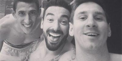 Ángel Di María, Ezequiel Lavezzi y Leo Messi Foto:Getty Images