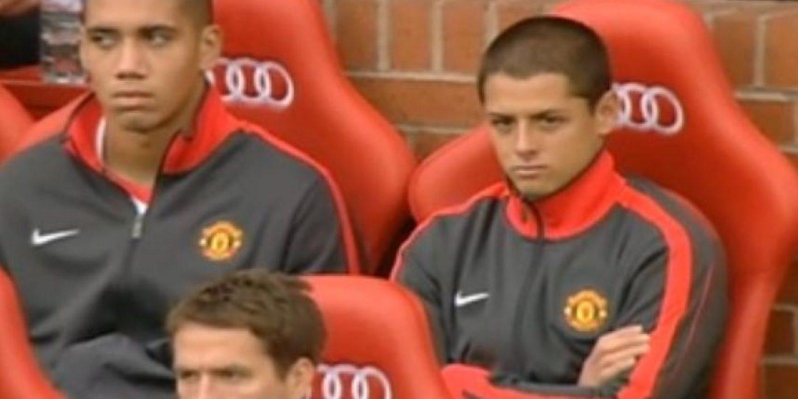 El mexicano Javier Hernández mostraba frustración cuando era suplente, en su etapa con el Manchester United Foto:Getty